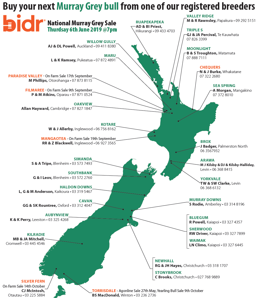 NZ map showing sale locations and dates